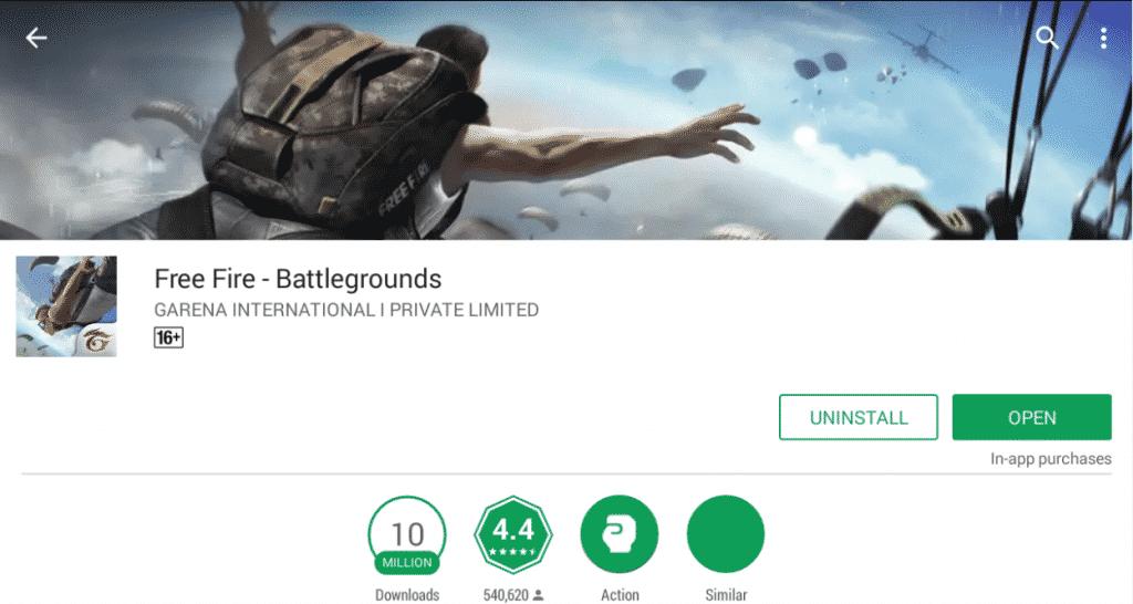 free fire google play