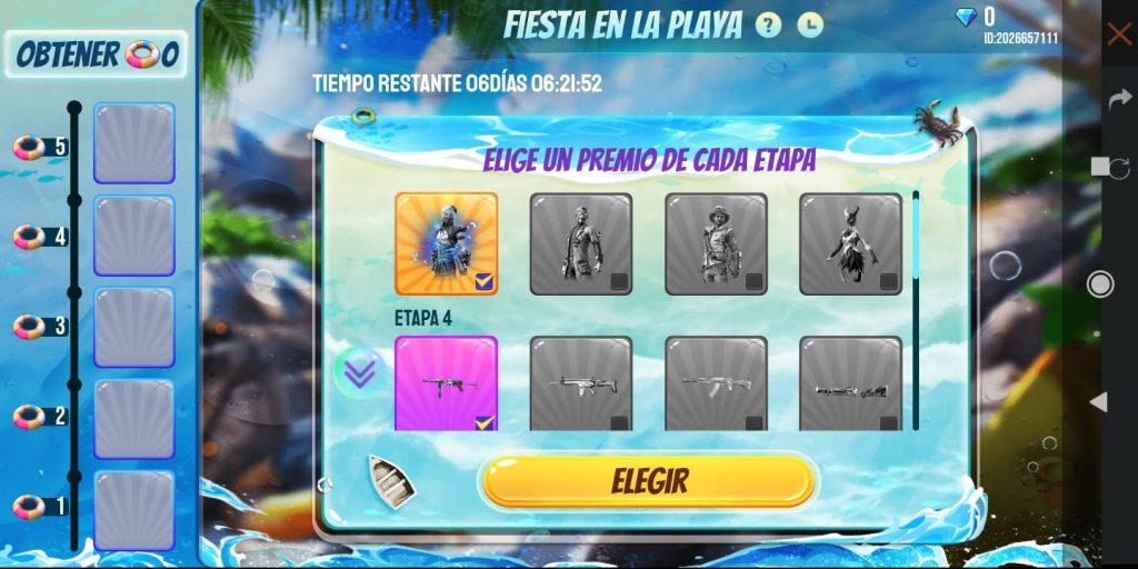 Premios de Fiesta en la Playa Free Fire